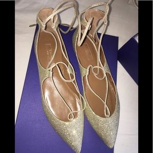 Beautiful Aquazzura Christy Gold Glitter Flats